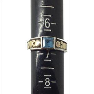 John Hardy blue topaz sterling silver 18k Dot Ring